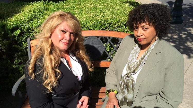 Roxanna Zamora (left) and Fascia Edwards traveled to Wells Fargo's annual meeting in San Antonio April 29 as part of their efforts to receive loan modifications. Both borrowers said after the meeting that they were hopeful the trip was worth it.
