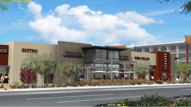 A rendering of the new retail component set for ASU's SkySong development in Scottsdale.
