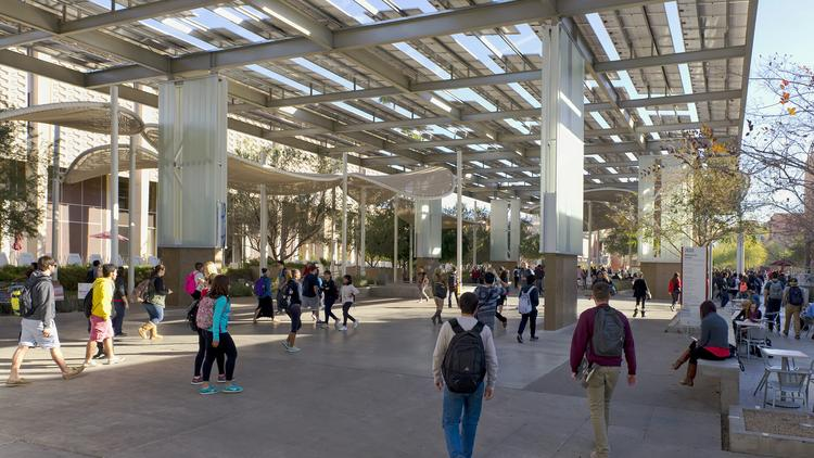 Chandler-based Strategic Solar Energy developed these patent-pending PowerParasol structures to not only collect power from the sun, but create shade and an inviting environment for the area day and night. This structure is outside the Memorial Union at Arizona State University in Tempe.