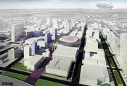 AECOM has been selected as the architect for the Sacramento Kings downtown arena project. This is a rendering previously released before the current ownership group won its bid to keep the Kings.