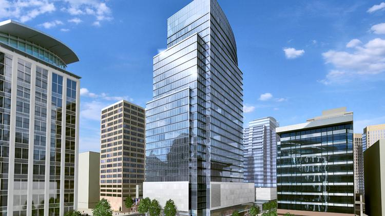 The planned office tower at Central Place at Wilson Boulevard and North Lynn Street in Rosslyn.
