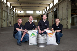 Insight Brewing Co. founders (from left to right) Kevin Hilliard, Brian Berge, Eric Schmidt, Ilan Klages-Mundt pose in their new brewery at 2821 E. Hennepin Ave.