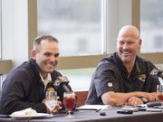 Jacksonville Jaguars General Manager Dave Caldwell, left and Head Coach Gus Bradley share a laugh during the annual media pre draft luncheon at EverBank Field.