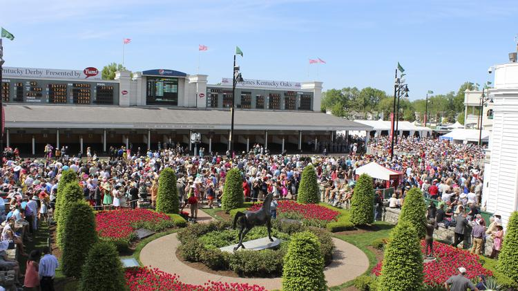 The view from a balcony overlooking the paddock at Churchill Downs on Kentucky Derby Day 2014.