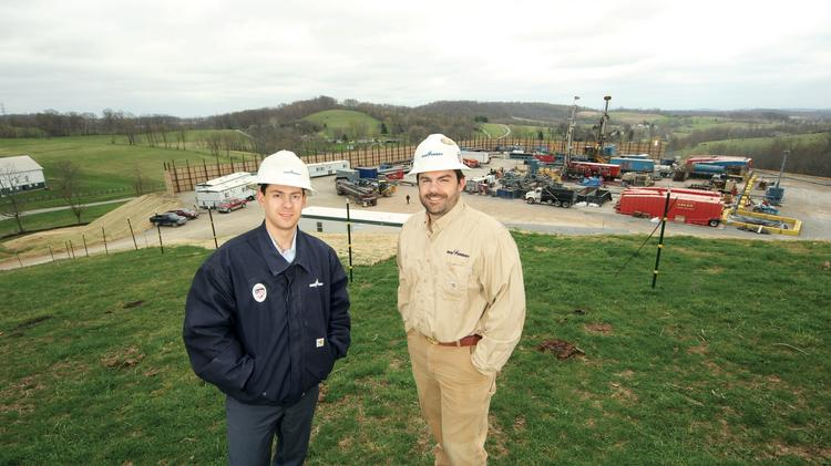 Rice Energy CEO Daniel Rice IV, left, and his brother Toby Rice, president and COO, at the Pollock Site in Somerset Township, Washington County.
