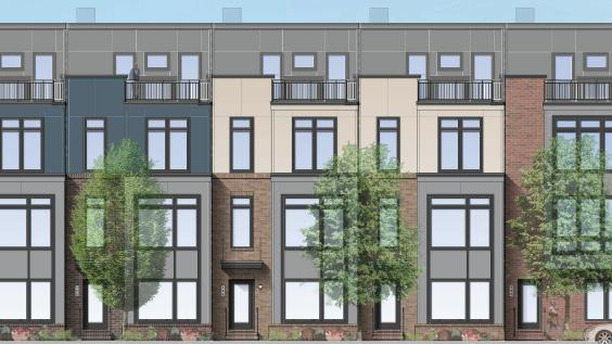 Rendering of the four-story townhomes that JBG plans to build at Cameron Park, its proposed Alexandria development. JBG will give up more than 70,000 square feet of right of way to clear the way for a new bridge between its development and the Van Dorn Metro station.