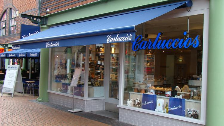 A Carluccio's location in Birmingham, England. The Italian-themed market and cafe concept has signed a lease for its first U.S. location in Alexandria, Va.