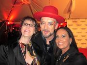 Business First Research Director Allison Stines poses on the Barnstable Brown Gala's Red Carpet with Boy George and Jessica Lee, a writer for MyDerbyLove.com.