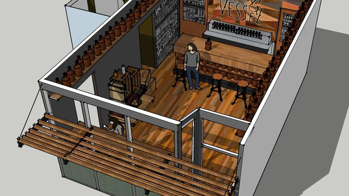 An artist's rendering of Craft & Vessel, a new cafe-style beer tasting space, that will open in Shorewood in July.