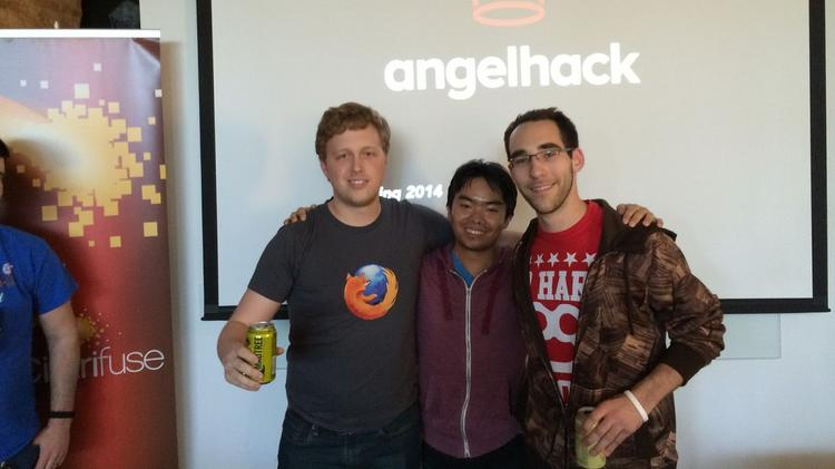 From left, David Felix, Jim Chen and Taylor Edmiston developed Hot Pizza, which won AngelHack's inaugural Cincinnati event.