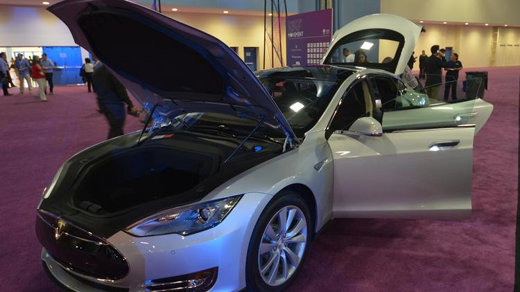 The new Tesla on display at the eMerge Americas techweek event.
