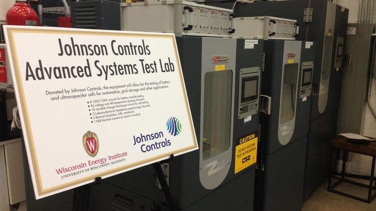 Johnson Controls Inc. donated some battery testing equipment to a research lab at the University of Wisconsin-Madison on Monday.