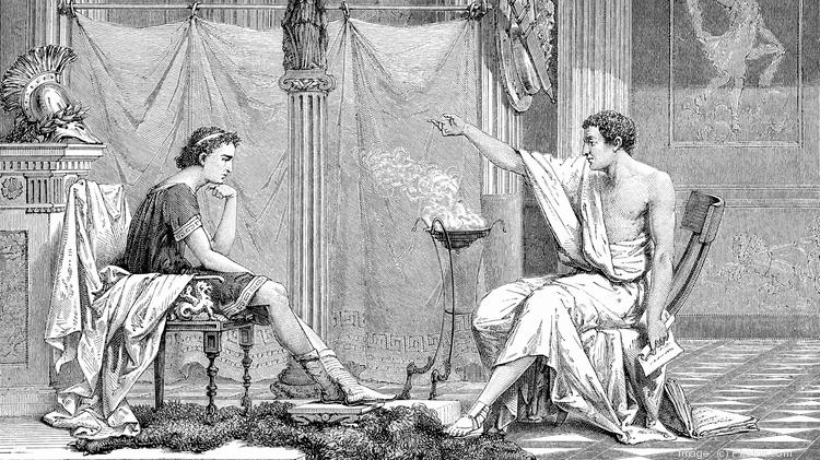 Young Alexander the Great with Aristotle