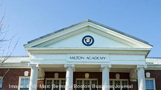 Milton Academy, Milton source: 2012 IRS 990 endowment: $188,587,517 head of school (at time reflected in latest public IRS filing): Theodorick Bland head of school base compensation: $550,286 Revenue for year ending June 30, 2011: $72,309,351