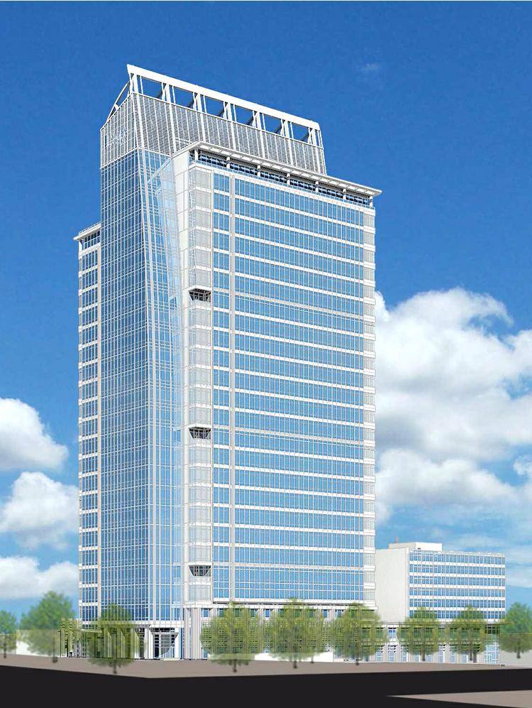 The LS3P design of 300 South Tryon shows a 25-story tower totaling 632,385 square feet.