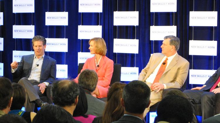 Greg Hassell, vice president and senior communications manager for Chase, moderates a panel discussion at the New Skills at Work launch in Dallas. Panelists included Ryan Robinson, co-owner and president of Signal Metal Industries; Anne Motsenbocker, president of south region middle market for Chase; Dallas Mayor Mike Rawlings; Dr. Steve Mansfield, president and CEO of of Methodist Health System and chairman of the Dallas Regional Chamber; and Dr. Mary Brumbach, senior executive for development and foundation affairs for Dallas County Community College District.