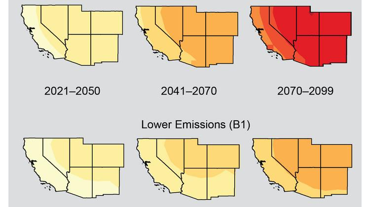 Maps show projected changes in average temperatures by the end of the 21st Century in Colorado and the Southwest states, based on two different assumptions about emissions levels, as compared to the norms for 1971-1999. The top row shows projections assuming heat-trapping gas emissions continue to rise (A2). Bottom row shows projections assuming substantial reductions in emissions (B1).