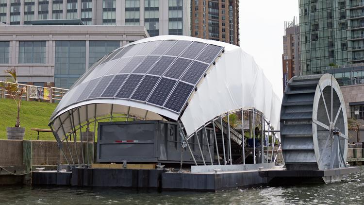 A water wheel, capable of removing 50,000 pounds of trash per day, will bring Waterfront Partnership closer to its goal of making the harbor swimmable and fishable by 2020.