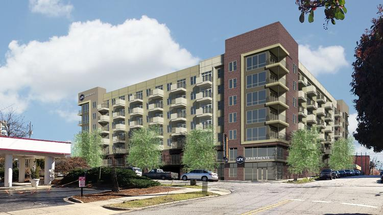 Rendering of the proposed Link Apartments Glenwood South that will rise one block off Glenwood Avenue in downtown Raleigh and across from 42nd Street Oyster Bar.