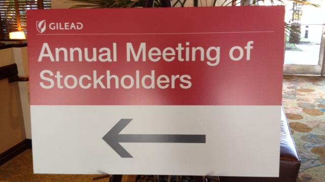 Gilead Sciences' annual stockholders meeting was May 7 at the Westin San Francisco Airport hotel in Millbrae.
