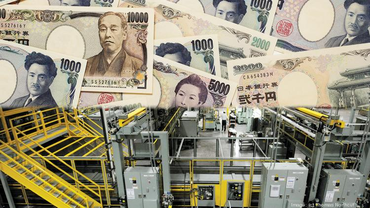 Variations of Japanese Yen Currency with honda plant floor