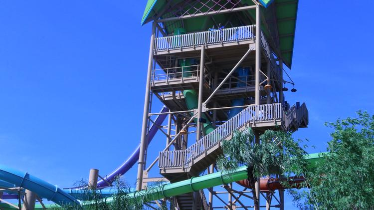 Here's the eight-story tower guests will climb to approach the top of the four slides.