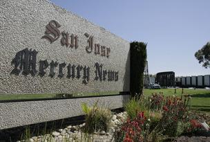 The San Jose Mercury News sign sits outside of their headquarters in San Jose, California.