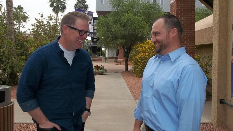 Bart Millard, founder of the award-winning MercyMe Christian band, left, immediately connected with Jason Hiles, dean of the College of Theology at Grand Canyon University, when they began discussing how they could work together to create a worship arts program at the Phoenix university.