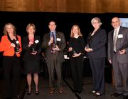 Finalists in the Manager category, left to right: Donna Parsons on St. Elizabeth Healthcare; Joni McElroy of Mercy Health; Donald Holmes of Cincinnati Eye Institute Foundation; Midge Hines of Caracole Inc.; Dr. Patricia Carey of Hoxworth Blood Center/University of Cincinnati; and Dr. George Atweh of the University of Cincinnati College of Medicine/UC Health.