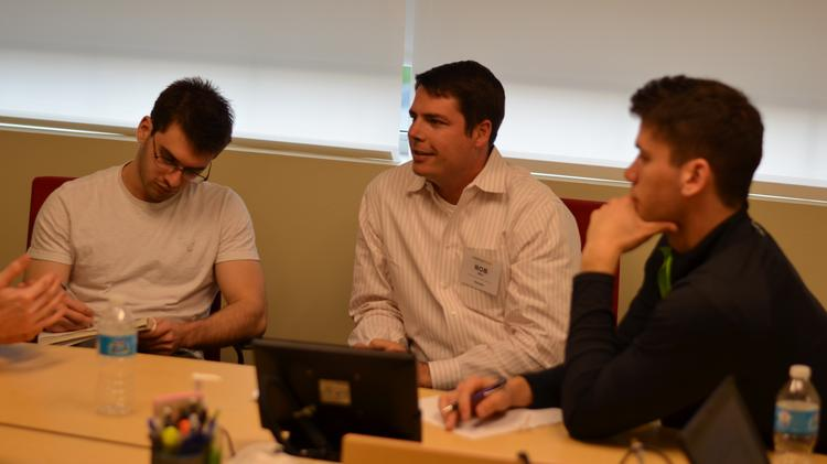 From left: Flavio Fenley; Rob Rex, Marc USA senior vice president/director of digital strategy; and Philip Morrissette at the Marketing Sparks event Wednesday. Pitt students Fenley and Morrissette are part of Phizzbo, one of the four winning teams in Pitt's Big Idea competition.