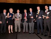 Left to right: Dave Levine, vice president of consulting services for TechSolve, appears with the finalists in the Innovator category: Linda Robinson of St. Elizabeth Healthcare; Dr. Christopher McPherson of Mayfield Clinic/UC Health; Dr. Phil Lichtenstein of the Children's Home of Cincinnati; Dr. John Hawkins of the Lindner Center of Hope; Ken Fields of Appro-Rx; and Yousuf Ahmad of Mercy Health.