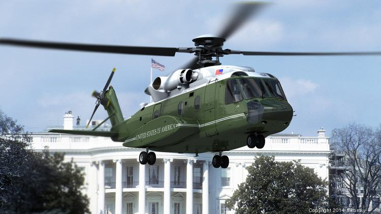 The Sikorsky VH-92 helicopter for U.S. Government Executive Transport mission in a computer-generated digital rendering.