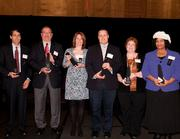 Finalists in the Community Outreach category, left to right: Dr. Robert Tracy of St. Elizabeth Physicians; Don Rohling of Mercy Health; Vicky Ott of Fernside: A Center for Grieving Children; Craig Hockenberry, principal of Oyler School who accepted the award on behalf of OneSight Vision Center at Oyler; Vickie Henderson of Northern Kentucky Children's Advocacy Center; and Mildred Williams of the Center for Respite Care, who accepted the award on behalf of Dr. Bob Donovan.