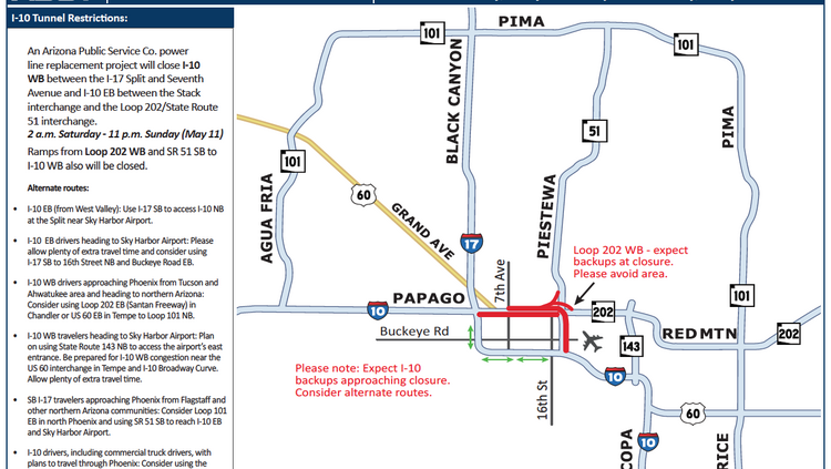 A map of the closure this weekend. Click to enlarge.