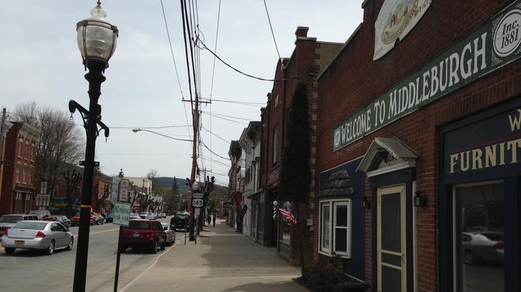 The village of Middleburgh, New York, was flooded by Hurricane Irene in 2011. Empty storefronts still remain nearly three years after the storm.