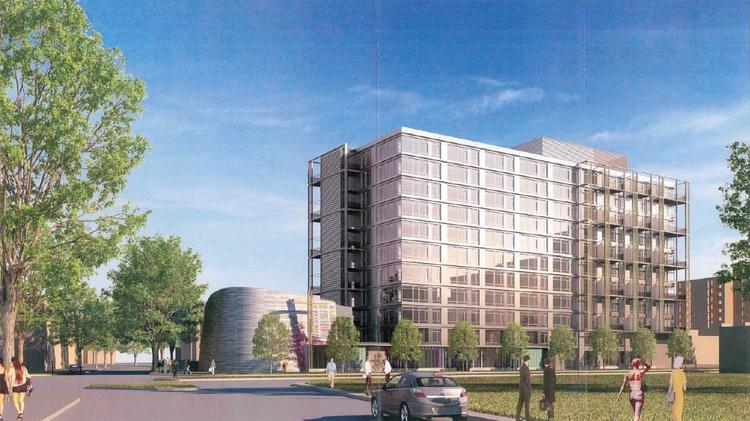 At 222 M, Trammell Crow and CSG Urban Partners plan this 217-unit apartment building and church on a parcel owned by St. Matthew's Lutheran. The lot is the subject of a tax fight.