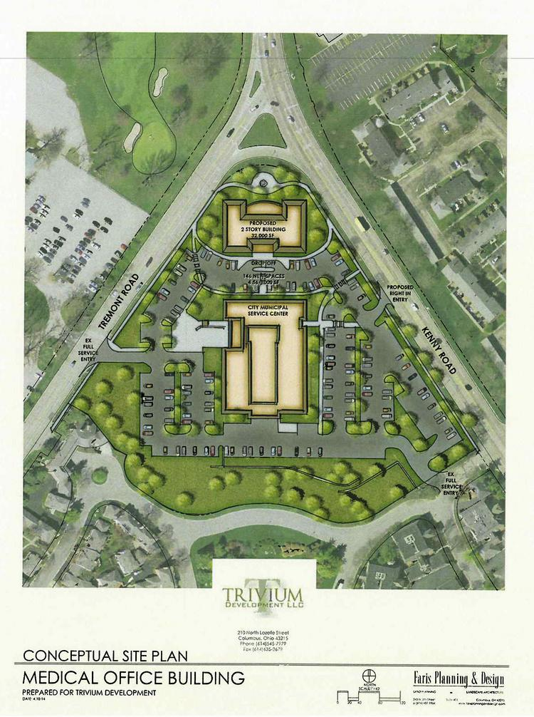 """The proposed redevelopment site is at the """"point"""" where Tremont and Kenny roads come together."""