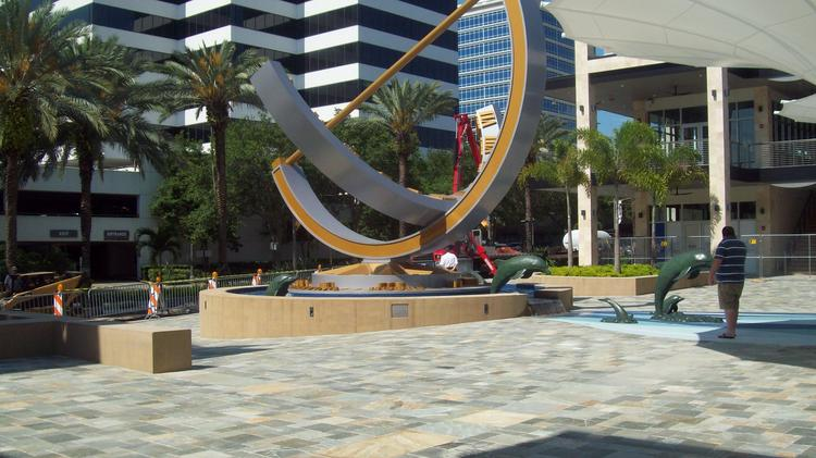 A south-facing view of the Sundial sculpture for which the retail and restaurant complex is named.