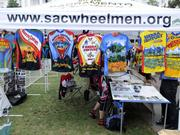 """The Capitol Bike Fest, held on the steps of the Capitol in Sacramento on Thursday, helped celebrate """"May is Bike Month."""" This is a vendor booth."""