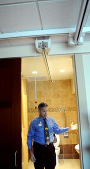 Rooms are equipped with a lift track for immobile patients.