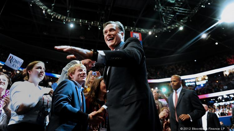 Mitt Romney shakes hands with supporters at the 2012 Republican National Convention. Cincinnati was eliminated from the list of cities being considered for the 2016 convention on Thursday.