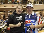 Erik Buell, owner of Erik Buell Racing LLC, hung out with Cory West, EBR test rider and 2014 AMA Superbike rider, at Hal's Harley-Davidson in New Berlin during a special preview of the unveiling of the new EBR 1190RX.