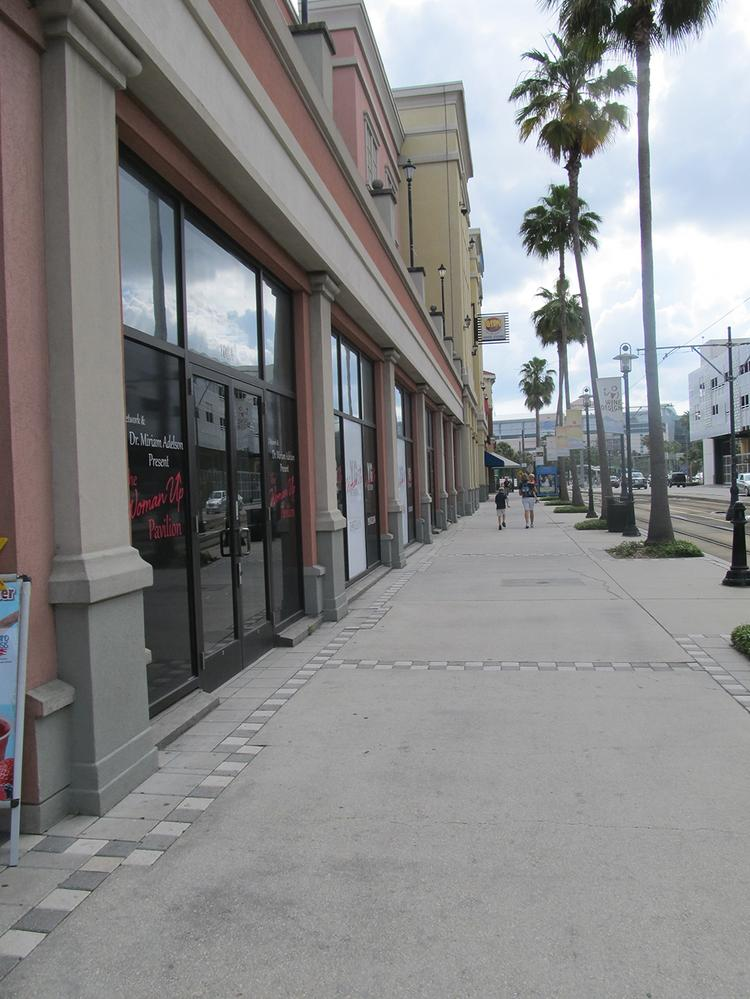 A weekday scene at Channelside Bay Plaza shows very little foot traffic.