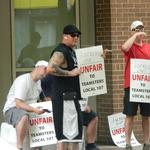 Union workers protest at Convention Center