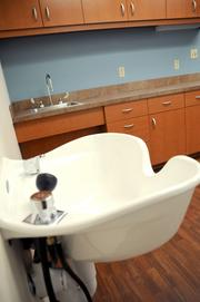 A hair studio, equipped with a salon-style sink, is one of the many comforts provided to CLC residents.