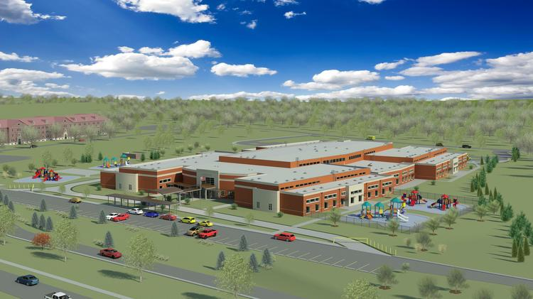 A rendering of the elementary school at Ft. Knox, Kentucky. S.M. Wilson has won a contract to build it with Ohio-based AWA Business Corp.
