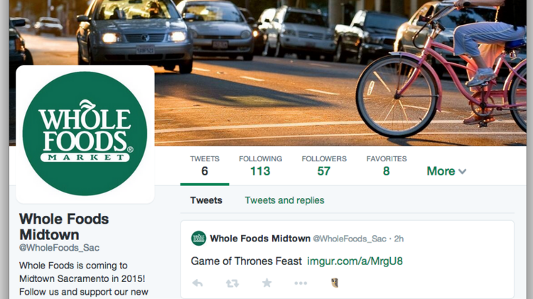 A Twitter account that bills itself as the voice of an upcoming Whole Foods store in midtown Sacramento is not affiliated with the specialty grocer, a spokeswoman for the company said Monday.