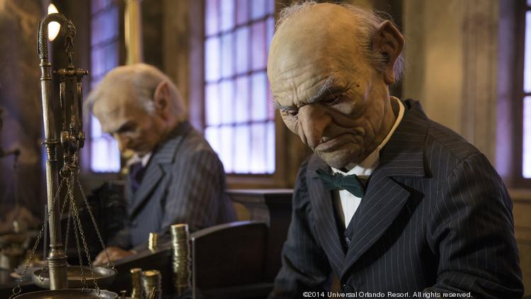 Guests will interact with goblins in the new Harry Potter and the Escape from Gringotts ride at Universal Orlando Resort.