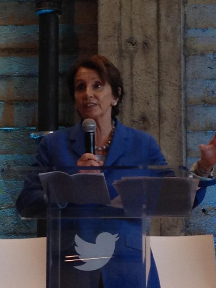 """Congresswoman Nancy Pelosi thanked Twitter for its """"transformational impact"""" on small business."""