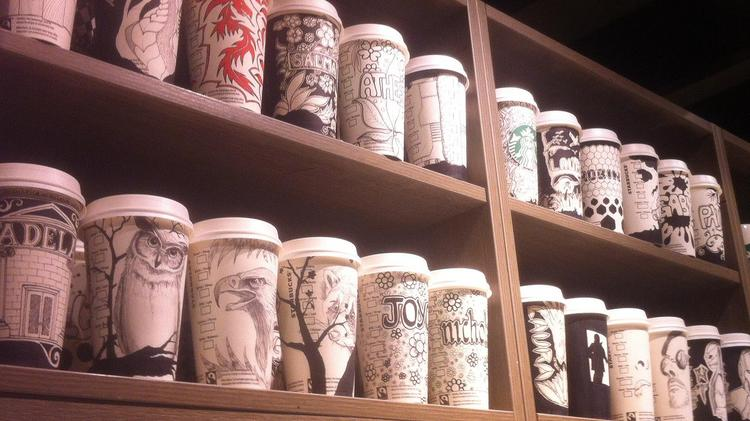 Starbucks barista Gabriel Nkweti doesn't just write a customer's name on a cup; he creates a work of art.